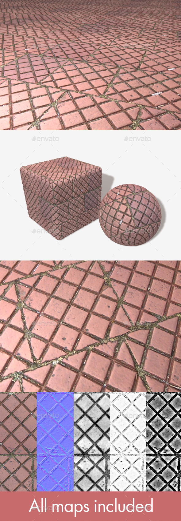 Pavement Patterned Tile Seamless Texture - 3DOcean Item for Sale