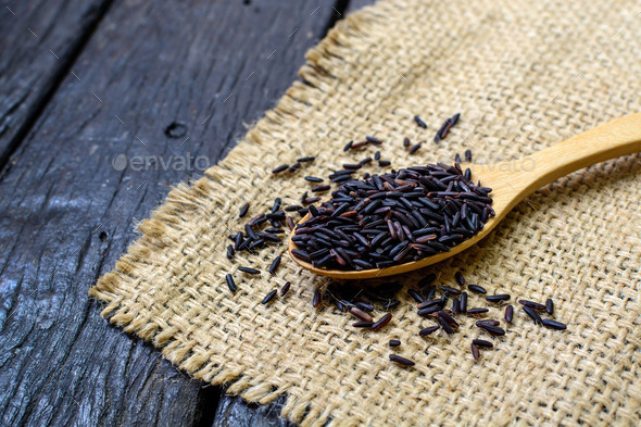 Close up of riceberry in spoon - Stock Photo - Images