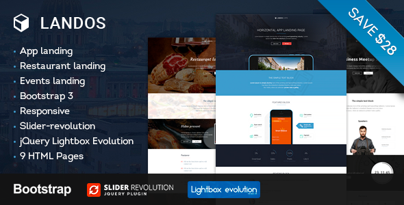 Landos – Responsive Landing Page  - Entertainment Landing Pages