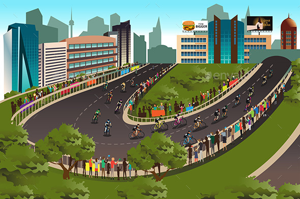 Cycling Competition With City in the Background - Sports/Activity Conceptual