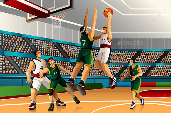 People Playing Basketball in a Competition - Sports/Activity Conceptual