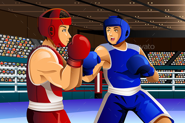 Boxers Fighting in Ring - Sports/Activity Conceptual