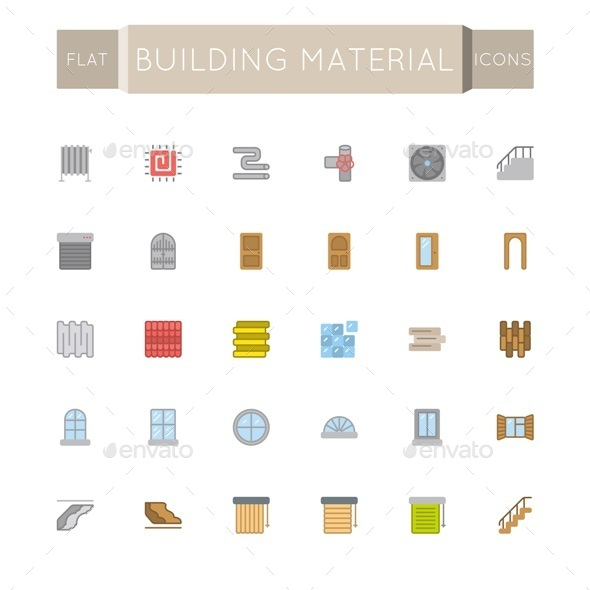 Vector Flat Building Material Icons - Business Icons