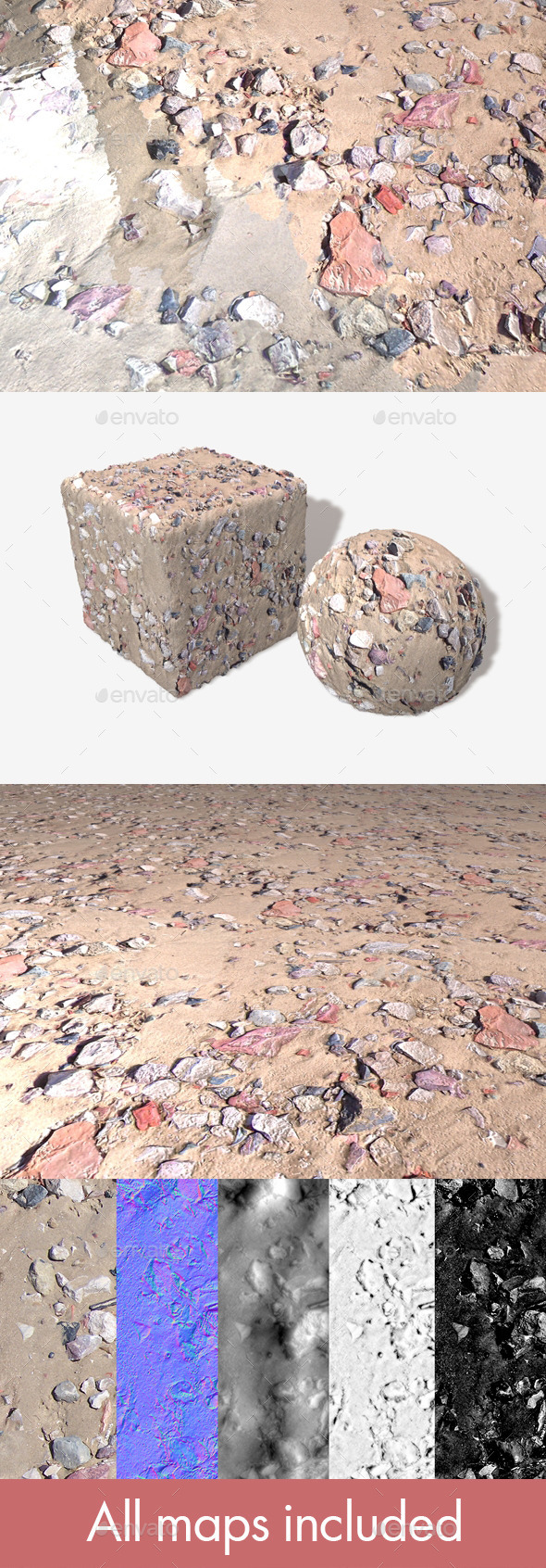 Beach Rubble 1 Seamless Texture - 3DOcean Item for Sale