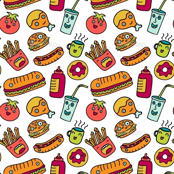 fast food seamless background funny cartoon by olga km hamburger clip art black and white hamburger clip art images
