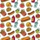 Fast Food Seamless Background. Funny Cartoon - GraphicRiver Item for Sale