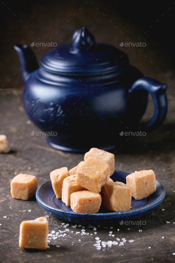 Fudge cand and teapot - Stock Photo - Images