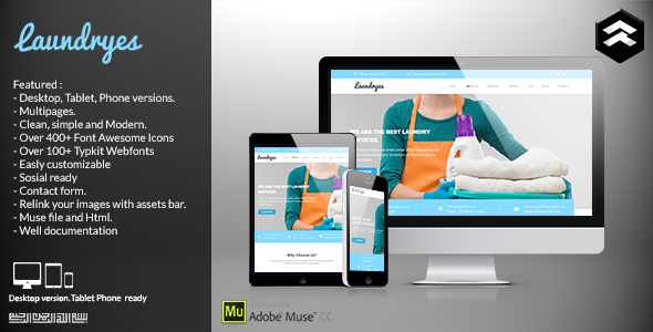 Laundryes - Laundry Business Muse Template - Corporate Muse Templates