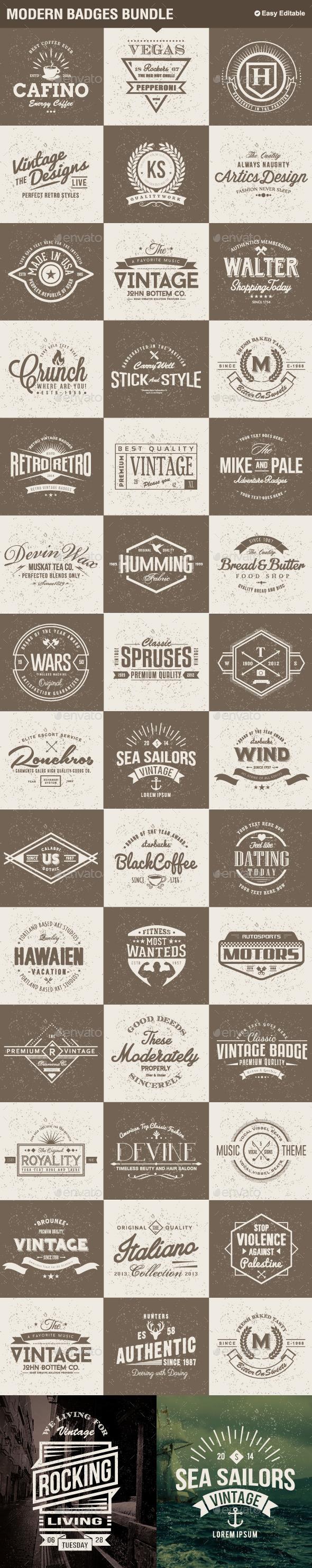 Modern Badges Big Bundle - Badges & Stickers Web Elements