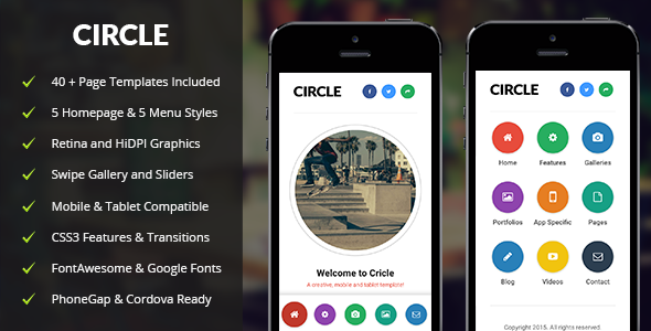 Circle Mobile | Mobile Template - Mobile Site Templates