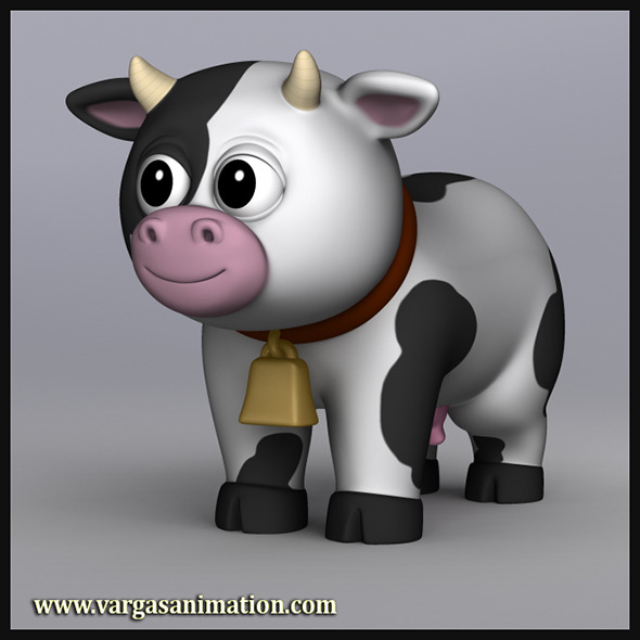 Cartoony Cow - 3DOcean Item for Sale
