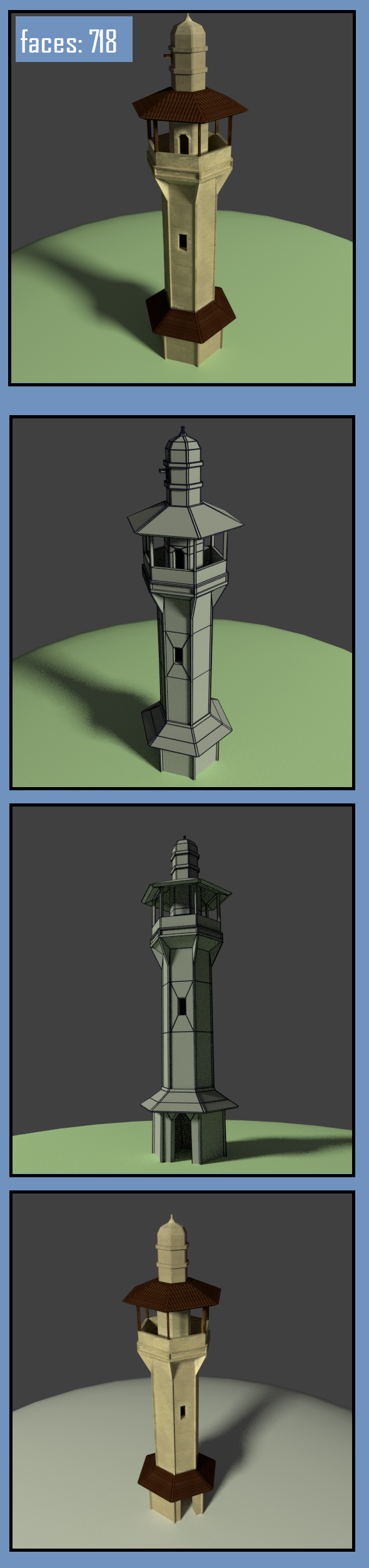 arab moorish minaret low poly building model - 3DOcean Item for Sale