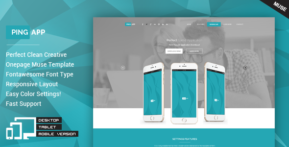 PingApp - One Page Parallax Muse Theme - Landing Muse Templates
