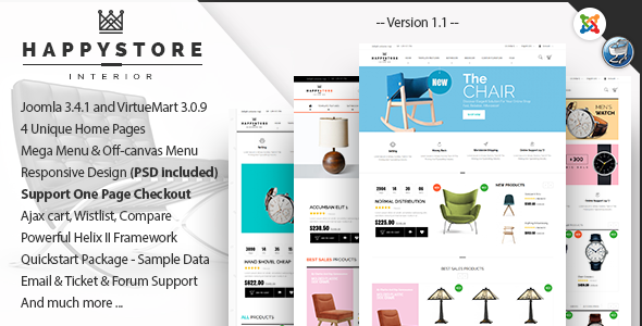 HappyStore – Furniture & Interior Joomla Template