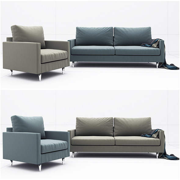 Liam sofa - 3DOcean Item for Sale