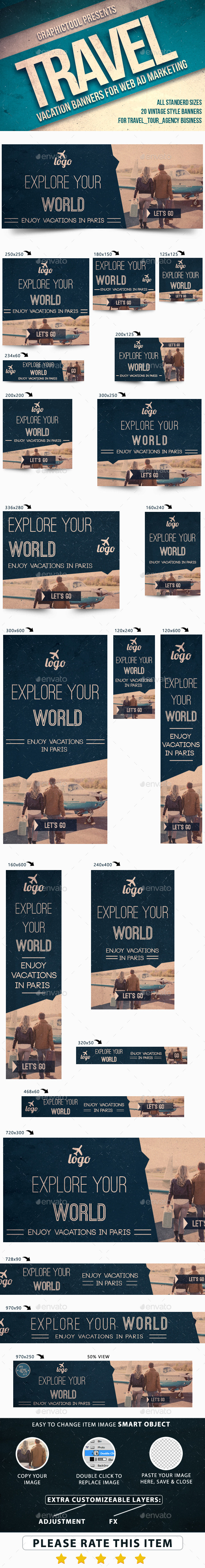 Vintage Travel Web Ad Marketing Banners - Banners & Ads Web Elements