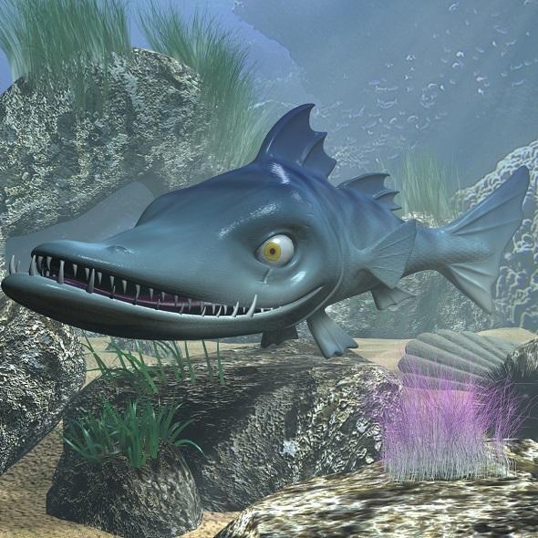 cartoon Barracuda Fish RIGGED - 3DOcean Item for Sale