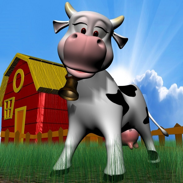 Cartoon Cow RIGGED - 3DOcean Item for Sale