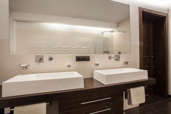 Travertine house - rectangular sinks - Stock Photo - Images