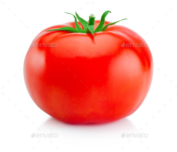 One juicy red tomato isolated on white background - Stock Photo - Images