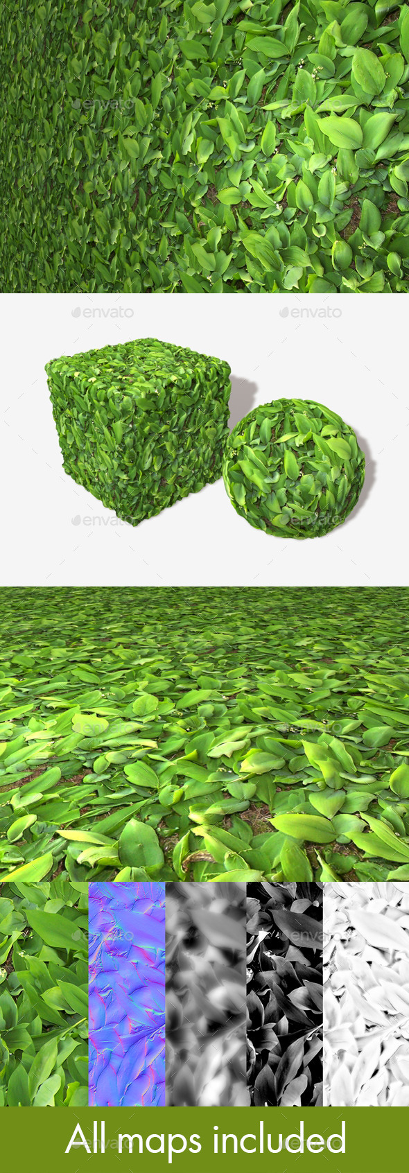 Leafy Plants Seamless Texture - 3DOcean Item for Sale