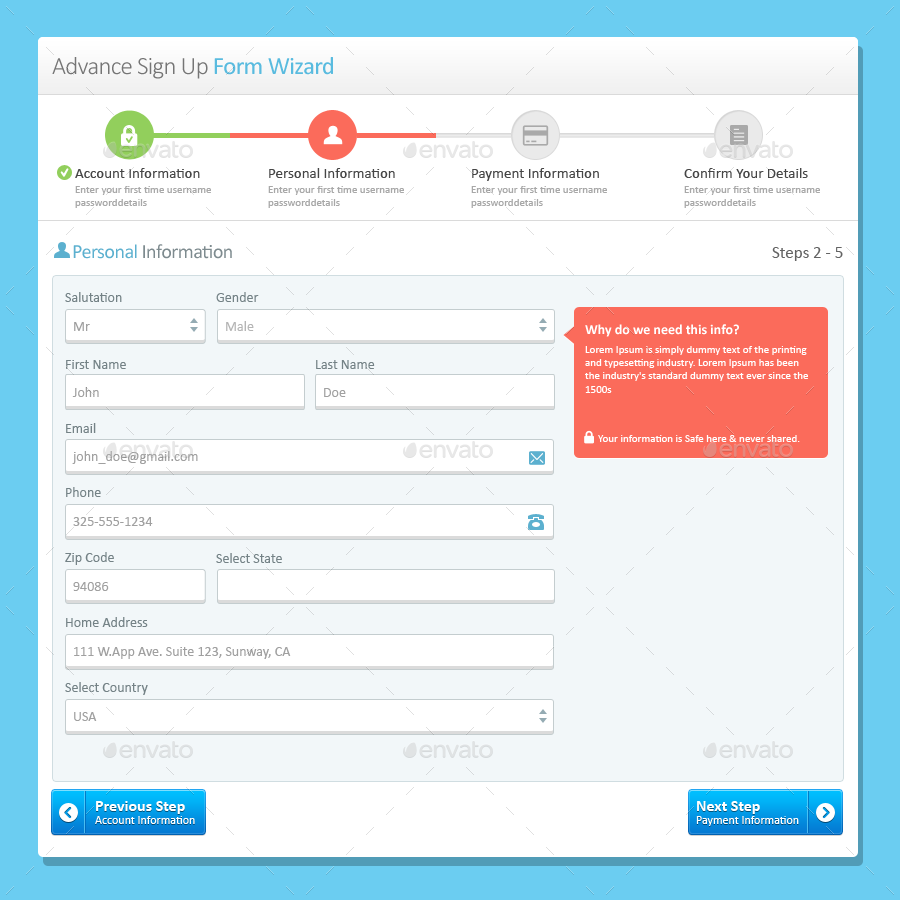 Login, Sign Up and Payment Form Wizard PSD Layered by rajiv503in ...