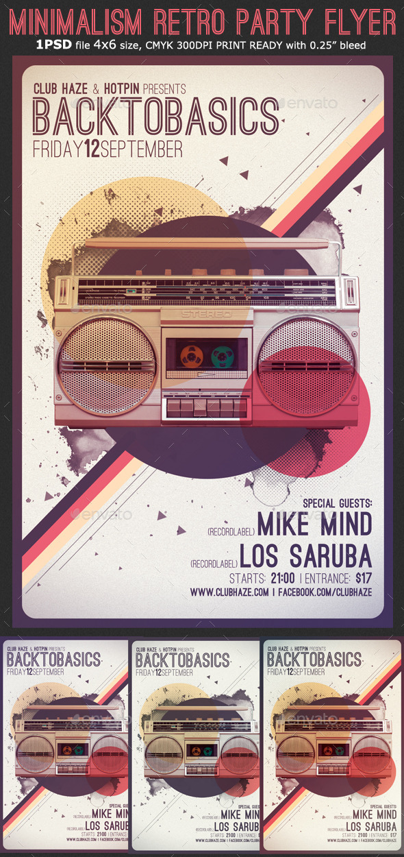 Minimalism Retro Party Flyer Template By Hotpin | Graphicriver