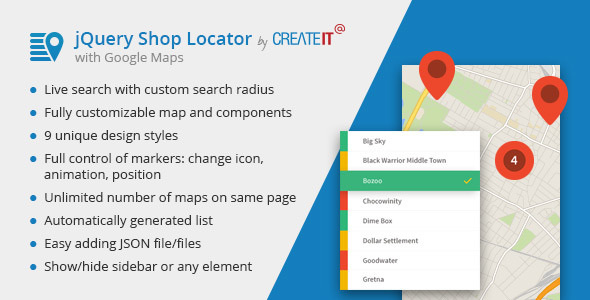 jQuery Shop Locator - CodeCanyon Item for Sale