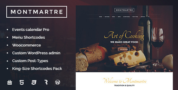 Montmartre - Cafe & Restaurant WordPress Theme - Restaurants & Cafes Entertainment
