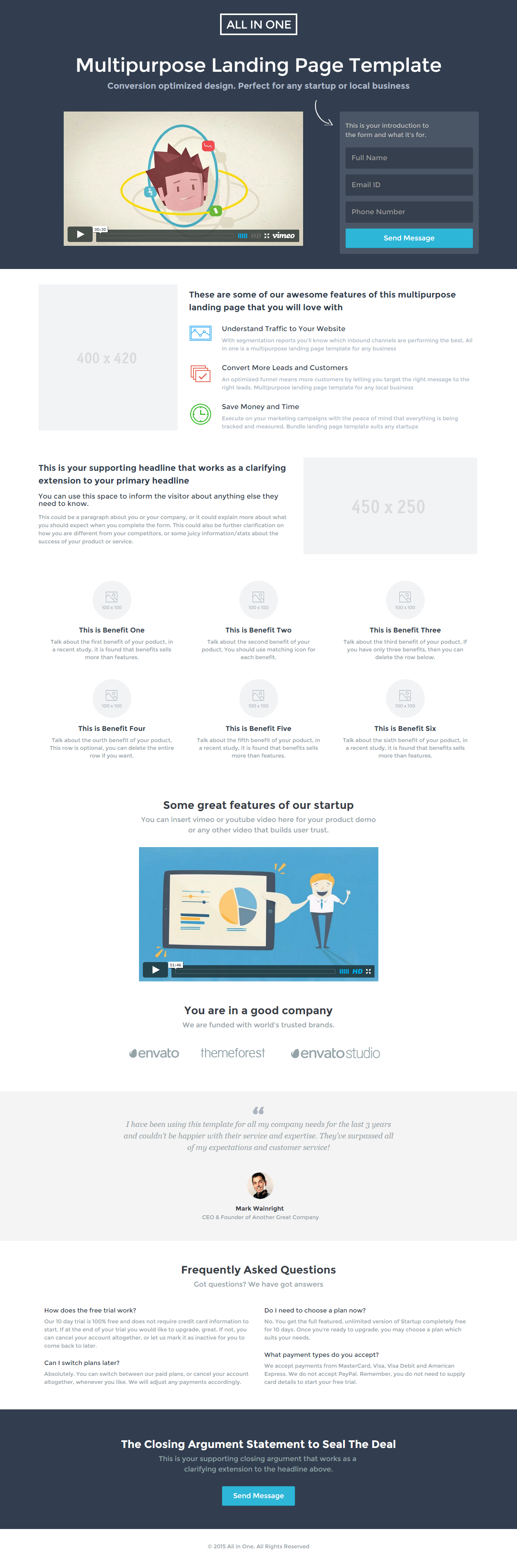 Multipurpose Landing Page Template All In One By Surjithctly - Video landing page templates