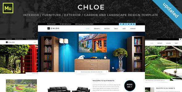 Chloe – Interior / Furniture / Exterior / Garden and Landscape Design Template