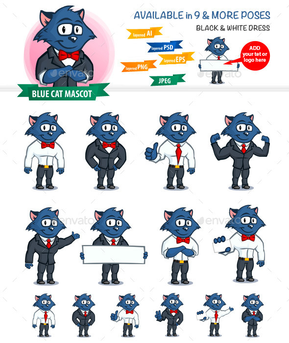 Blue Cat Mascot - Miscellaneous Characters