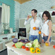 Panorama Kitchen Where A Couple Drinks Fresh - VideoHive Item for Sale