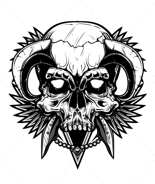 Black and White Skull - Vectors