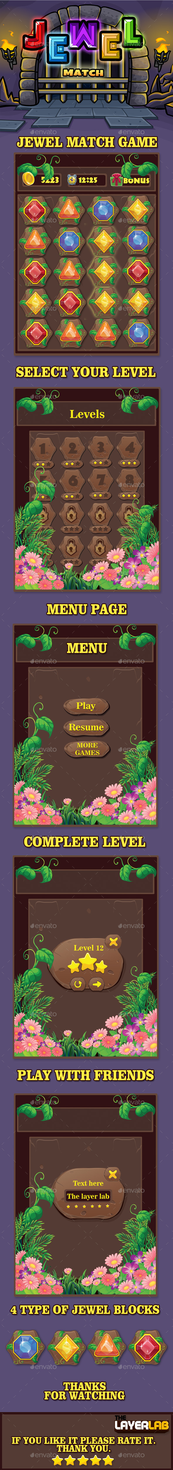 Jewel Match Game - User Interfaces Game Assets