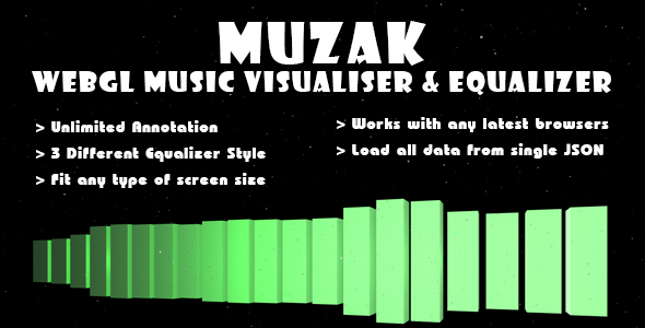 Muzak - WebGL Music Visualiser & Equalizer - CodeCanyon Item for Sale
