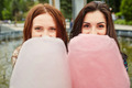 Two sisters eating cotton candy at the park - PhotoDune Item for Sale