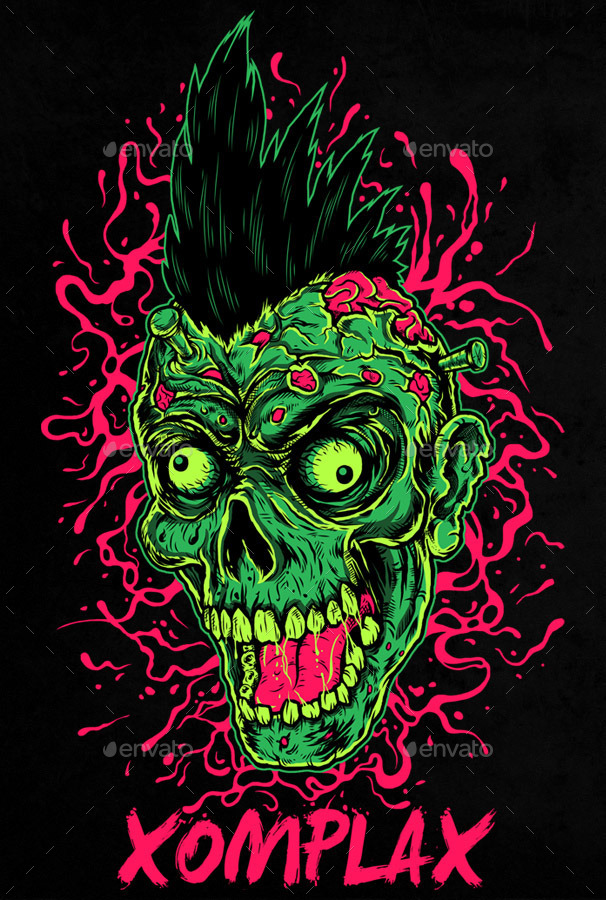 zombie punk illustration by svperkidz