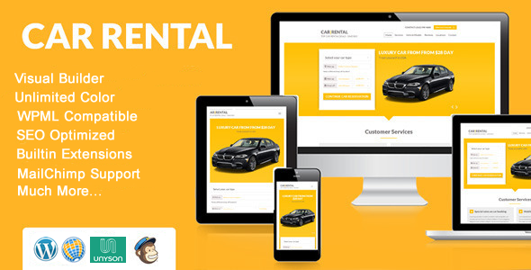 Car Rental WordPress Theme Landing Page