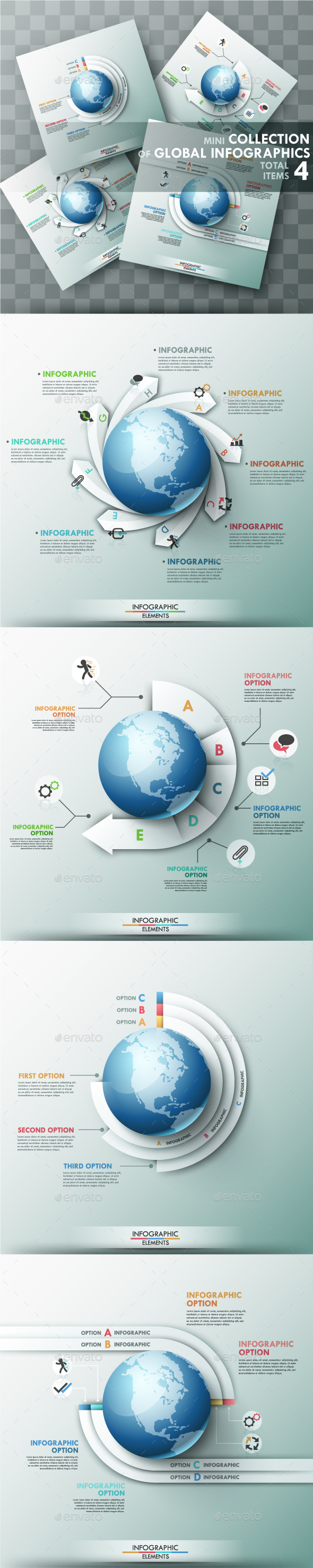 Set of 4 Global Templates - Infographics