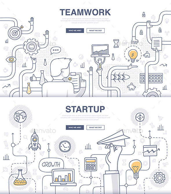 Startup and Teamwork Doodle Concepts - Concepts Business