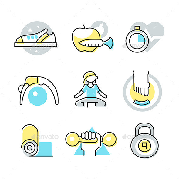 Fitness and Body Care Icons - Health/Medicine Conceptual