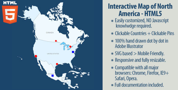 Interactive Map of North America - CodeCanyon Item for Sale