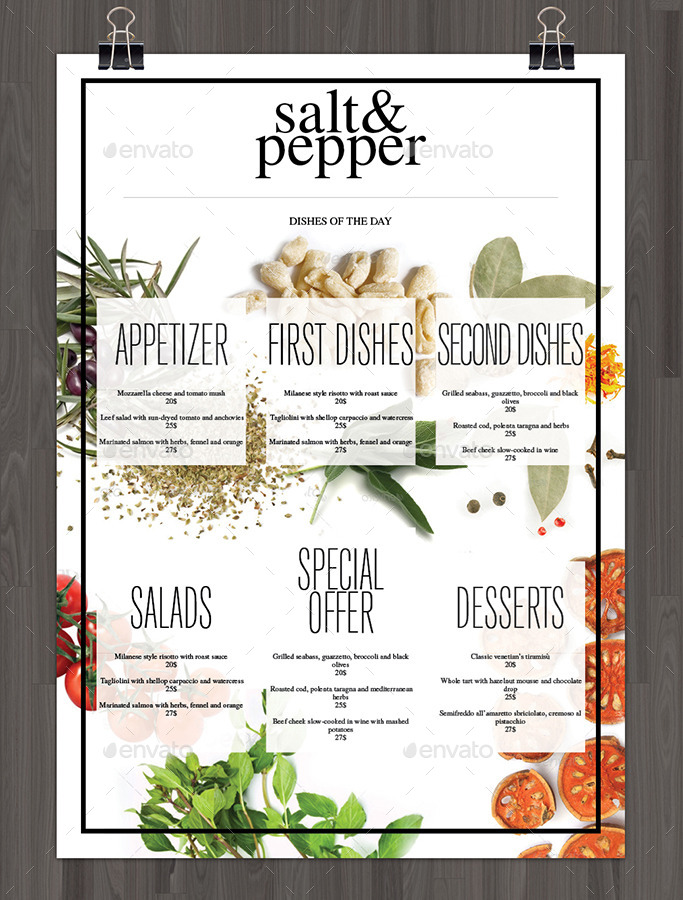 Bundle Minimal Food Menu By Gianlucacarraro  Graphicriver