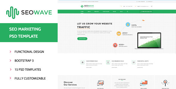 Seo Wave - Seo Company PSD Template - Business Corporate