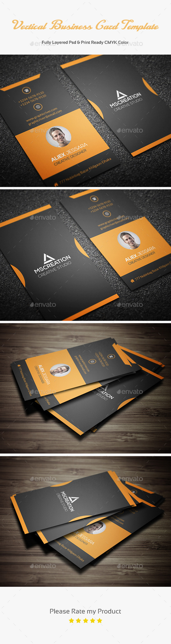 Vertical Business Card Template 3 - Creative Business Cards