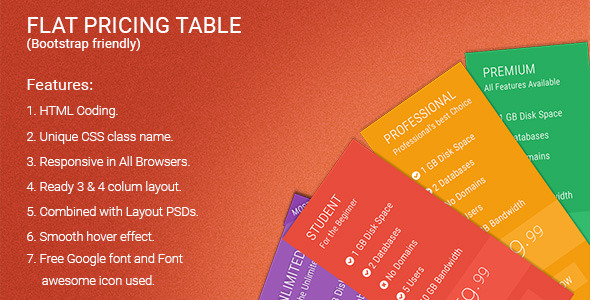 Flat Pricing Table - CodeCanyon Item for Sale
