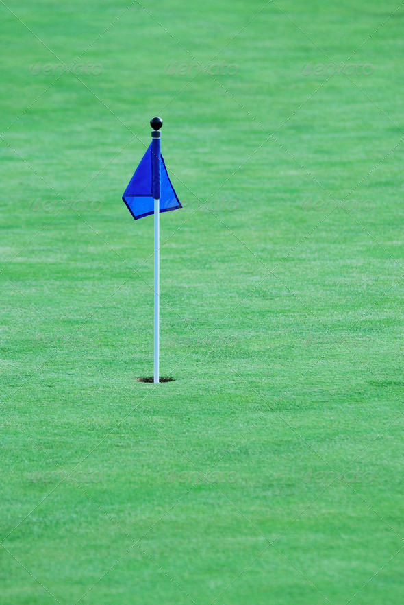 Flag on a golf green - Stock Photo - Images