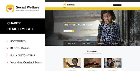Social Welfare – Charity & Non-Profit HTML Template