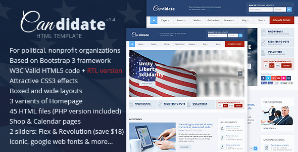 Candidate – Political/Nonprofit HTML Theme